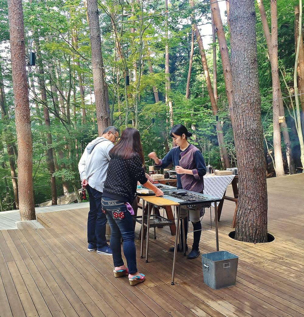 星のや富士 屋外 朝食