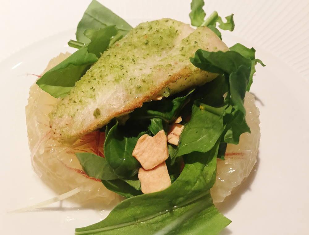 本日の魚 ベルシャード焼き グレープフルーツと茗荷のサラダ添え
