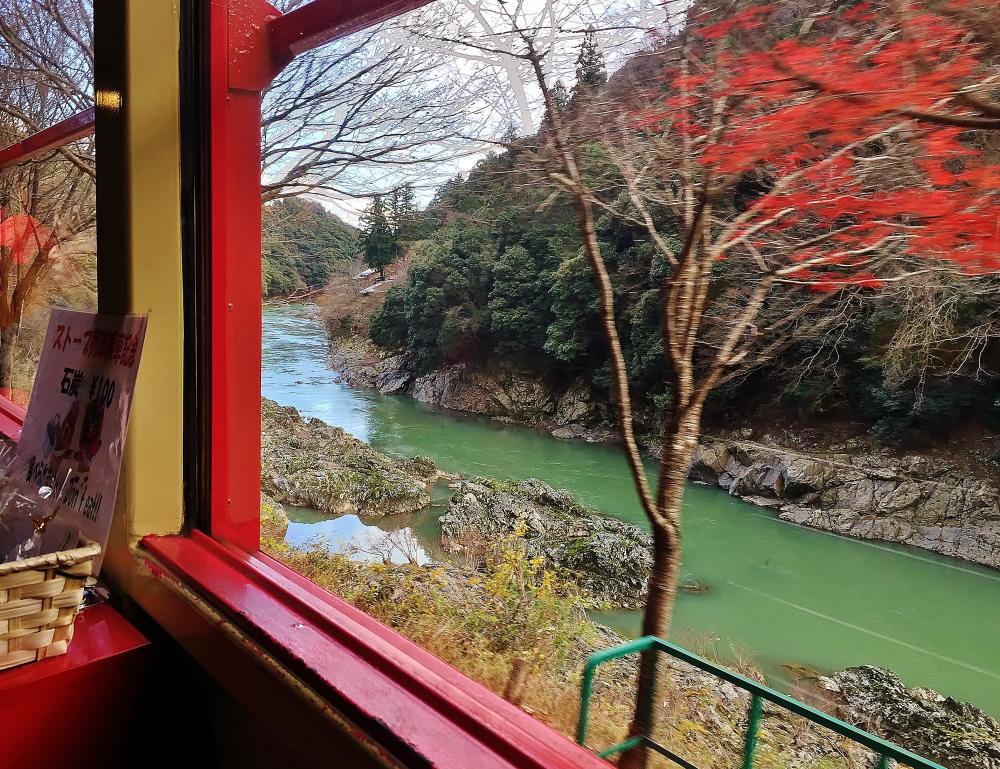 嵯峨野観光列車 トロッコ列車 紅葉